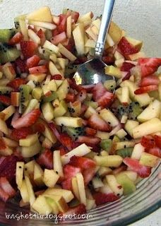 Fruit Salsa with Cinnamon Tortilla chips. I bet you could bake the tortillas instead of frying them.