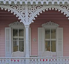 gingerbread house trim folk exterior window trim ideas found on victorian gingerbread house trim patterns Victorian Windows, Victorian Homes, Windows Exterior, House Exterior, Victorian Porch, Pink Houses, Window Trim Exterior, House Trim, Porch Trim