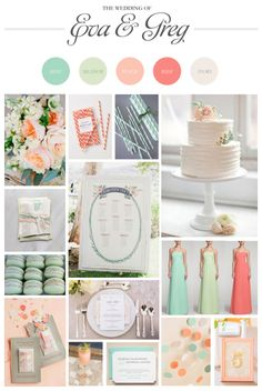 A mint and coral wedding mood board