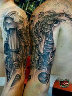 3D Biomechanical Alien Tattoo On Half Sleeve