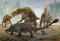 Tarchia Vs  Saurolophus by atrox1.deviantart.com on @deviantART
