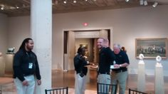 Virginia Museum of Fine Arts operations staff on work duty saying hello. October 2015