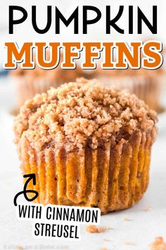 Are you ready for a delicious Pumpkin Muffin Recipe with cinnamon streusel? These pumpkin muffins are moist and delicious! Pumpkin Muffin Recipes, Cinnamon Recipes, Baking Recipes, Dessert Recipes, Autumn Muffin Recipes, Cake Recipes, Baking Tips, Bread Recipes, Baked Pumpkin