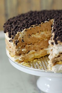 Chocolate Layer Cake RecipeChocolate Chip Mocha Icebox Cake is an easy to make dessert that is impressive looking and would be perfect to bring to a party!