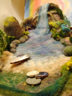 "Waterfell Lagoon1 | large playscape 24"" x 14"" felted from wo… 
