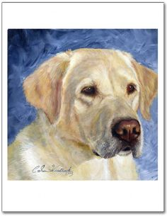Artwork painting of a yellow lab dog entitled Trust by Caron Wiedrick. Prints available