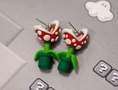 Mario Piranha Plant Earrings...i want these