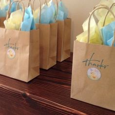 Rubber Ducky Baby Shower Ideas | Rubber ducky baby shower. Thank you bags | Baby Shower Ideas