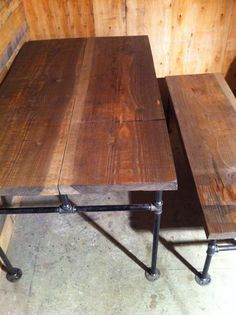 industrial cast iron pipe douglas fir dining table furniture