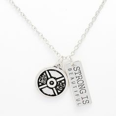 Strong Is Beautiful Weight Plate 25 lbs Necklace