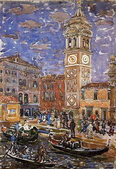 Maurice Prendergast (American 1858–1924) [Post-Impressionism, The Eight] c1911-12, Santa Maria Formosa, Venice, watercolour, 55.p x 38.7 cm.