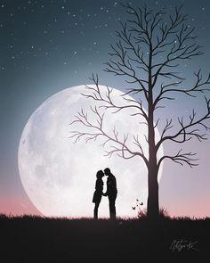 Cute Wallpaper Backgrounds, Love Wallpaper, Cute Wallpapers, Silhouette Photography, Silhouette Art, Love Cartoon Couple, Scratchboard Art, Moon Art, Moon Moon