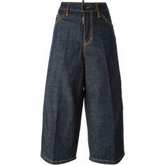Dsquared2 denim culottes ($400) ❤ liked on Polyvore featuring pants, capris, blue, denim trousers, blue pants, blue wide leg pants, 5 pocket pants and wide-leg pants