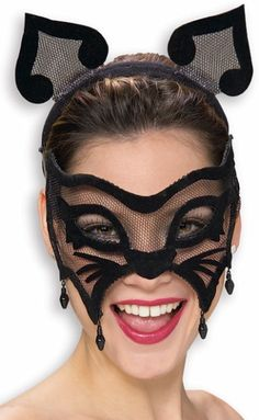 Womens Halloween Black Cat Masquerade Eye Costume Mask | eBay