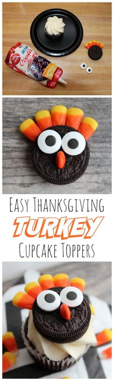 Easy Double Stuff Oreo Turkey Cupcake Toppers - my kids will definitely eat their Thanksgiving dinner for this!