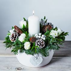 Nordic Candle Centrepiece Nordic White - Waitrose Florist