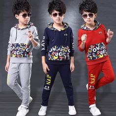 17.95$  Watch now - http://alieij.shopchina.info/go.php?t=32753940957 - Boys Clothes Set Winter Hoodes +Pants Two-pieces Suit Cotton Teenage Costume Children Clothing Sets New Year Jersey 4to 14 Years 17.95$ #aliexpress