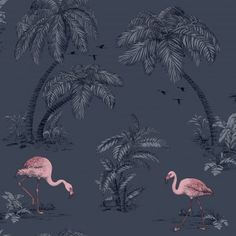 Dutch Wallcoverings Imaginarium Flamingo Lake Midnight Bleu Pink 12382 is part of Pink painting Wallpaper - Pink Flamingo Wallpaper, Navy Wallpaper, Rose Gold Wallpaper, Feature Wallpaper, Tree Wallpaper, Paper Wallpaper, Painting Wallpaper, Blue Wallpapers, Pink Flamingos