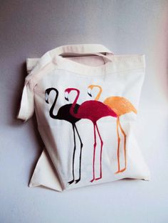 Hand painted Tote bag  flamingos canvas bag by PatternLovers, zł79.00