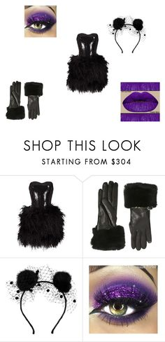 """""""black and purple"""" by janyia-rog ❤ liked on Polyvore featuring Lillie Rubin, Valentino and Maison Michel"""