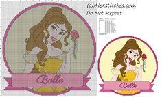disney princess Belle cross stitch pattern cushion
