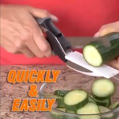 Clever Cutter is the revolutionary 2-in-1 knife and cutting board that chops and slices your favorite foods in seconds! The secret of the 2-in-1 design is the ergonomic power pressure handle which helps you to effortlessly cut through food fast! Clever Cutter's premium blade and extra wide mouth makes cutting fruits, veggies, meats and more fast, easy, and mess-free. Kitchen Tools, Kitchen Gadgets, Industry Models, Safe Storage, Storage Design, Homemaking, Scissors, Plastic Cutting Board, Clever
