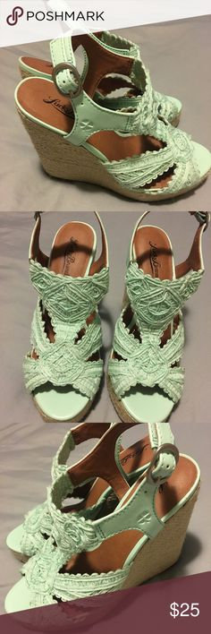 Lucky Brand Mint Green Wedges size 7.5, NWT Lucky Brand Mint Green Wedges size 7.5, NWT. Never worn and still in box. High 4+ inch heel. Lucky Brand Shoes Wedges
