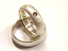 Trauringe - Trauringe in Silber mit Brillant - ein Designerstück von Goldschmiede-Dunder bei DaWanda
