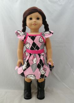 "Hello Kitty dress #2 fits 18"" dolls and american girl dolls dolls."