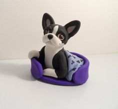 Happy in bed Boston Terrier polymer clay sculpture by by theWRC