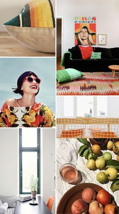 Blogger Victoria, of SF Girl by Bay, uses a splash of orange to bring color and warmth into every room in this post. This inspiration board is full of vivid orange hues. Try experiment with different shades of orange to find the color that best fits your unique design style. Deeper orange-red colors pair well with warm tan or gray backgrounds while brighter orange tones pop against complementary blues and bright whites.