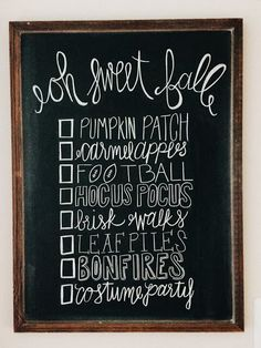 Fall Bucket List - Fall Chalk Art - Chalkboard - Life as Lindaman Blog - Fall Decor