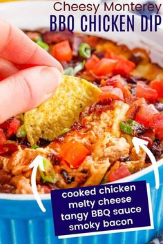 Monterey Chicken Dip - everything you love about the popular restaurant dish in a hot and cheesy dip recipe. Serve this appetizer with chips and veggies at your next holiday or football party and everyone will beg for the recipe. Just a handful of ingredients including shredded chicken, your favorite BBQ sauce, bacon and cheddar and Monterey Jack from my partner @cabotcheese. Naturally gluten free and easy to make low carb too. Find out how to make it from Cupcakes & Kale Chips!
