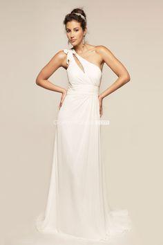 grecian one shoulder Chiffon Sweep Train Zipper Back Wedding Dress - gopromdres.com