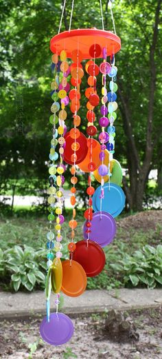 Rainbow Button DIY Wind Chime | AllFreeKidsCrafts.com