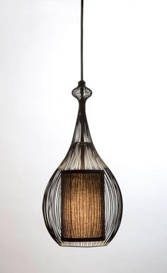 Paavo Pendant: Black with Black Fabric Shade - contemporary - pendant lighting - san francisco - Shine Labs, LLC. Interior Lighting, Home Lighting, Lighting Design, Metal Design, Glass Design, Contemporary Pendant Lights, Modern Contemporary, Pendant Lamp, Pendant Lighting