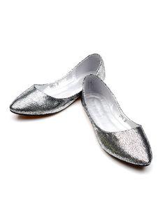 Silver Pointy Toe Flats $43
