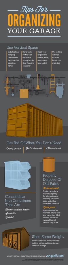 Organizing Your Garage Infographic! We love this creative infographic! Published by Angies List.