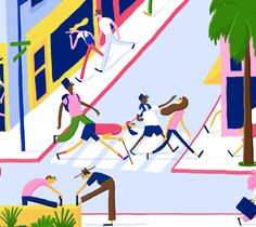 "Daniel Frost One Fine Day ""An illustration for the first Issue of One fine stays online magazine ""The Edition"". Its was for an article promoting walking in LA."""