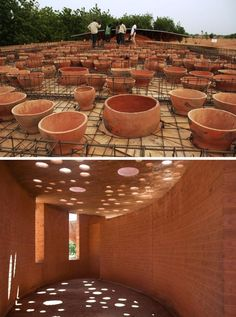 Brick Architecture, Vernacular Architecture, Concept Architecture, Architecture Details, Sustainable Building Design, Sustainable Architecture, Brick Design, Facade Design, Francis Kere