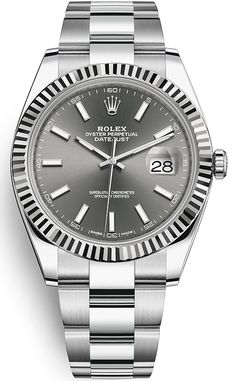 Purchase brand new Rolex Datejust 41 mm Steel White Gold Case Slate Dial Fluted Bezel Oyster Bracelet Watch - Rolex Watches For Men, Luxury Watches For Men, Cool Watches, Men's Watches, Sport Watches, Wrist Watches, Fashion Watches, Elegant Watches, Beautiful Watches