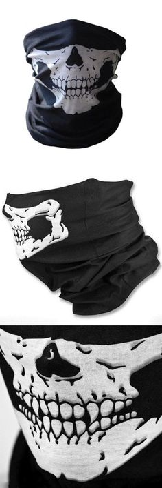 [Visit to Buy] Cool Tubular Skull Ghosts Ghost Mask Bandana Motor bike Sport Scarf Neck Warmer Winter Halloween For Motorcycle #Advertisement