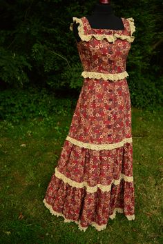 f94dd9015c5d 70s russet floral maxi prairie dress by CroneCrowVintage on Etsy Pinafore  Dress
