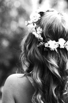 wedding curl and flower crown inspiration. wedding hair ideas. wedding hair down ideas.
