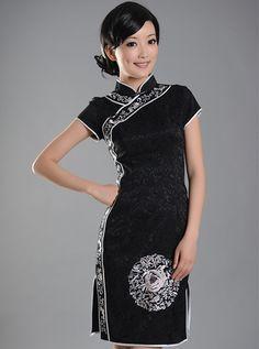 Black Short Cheongsam / Qipao / Chinese Dress