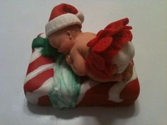 Christmas Present Fondant baby cake topper by anafeke on Etsy