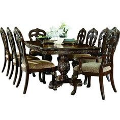 Amazing Deal Chalus Extendable Dining Table By Astoria Grand - Best tables Counter Height Dining Table, Dining Table Legs, Round Dining, Dining Room Sets, Kitchen Dining Sets, Grand Kitchen, Solid Wood Dining Set, 7 Piece Dining Set, Elegant Dining