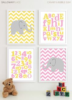 Baby Girl Nursery Art Girls Nursery Baby Girl Art Elephant Chevron Nursery Prints by Dalloway Place Kids bluegreen for a boy Elephant Nursery Art, Baby Nursery Art, Nursery Prints, Baby Decor, Kids Decor, Baby Frame, Dream Baby, Art Wall Kids, Wall Art