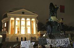 """They chanted """"no Trump, no KKK, no racist UVA."""""""