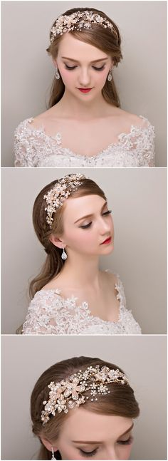 chic pearl and rhinestone bridal headband wedding accessories @elegantwinvites